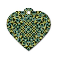 Arabesque Seamless Pattern Dog Tag Heart (one Side) by dflcprints