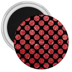 Circles2 Black Marble & Red Glitter (r) 3  Magnets by trendistuff