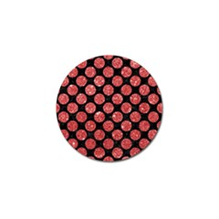 Circles2 Black Marble & Red Glitter (r) Golf Ball Marker by trendistuff