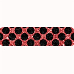 Circles2 Black Marble & Red Glitter Large Bar Mats by trendistuff