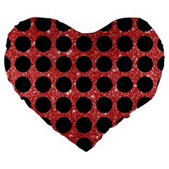 Circles1 Black Marble & Red Glitter Large 19  Premium Flano Heart Shape Cushions by trendistuff