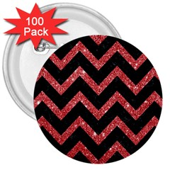 Chevron9 Black Marble & Red Glitter (r) 3  Buttons (100 Pack)  by trendistuff