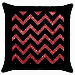 Chevron9 Black Marble & Red Glitter (r) Throw Pillow Case (black) by trendistuff