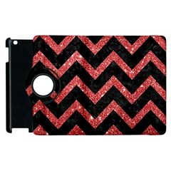 Chevron9 Black Marble & Red Glitter (r) Apple Ipad 2 Flip 360 Case by trendistuff