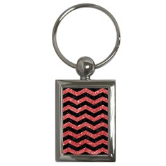 Chevron3 Black Marble & Red Glitter Key Chains (rectangle)  by trendistuff