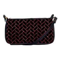 Brick2 Black Marble & Red Glitter (r) Shoulder Clutch Bags by trendistuff