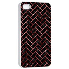Brick2 Black Marble & Red Glitter (r) Apple Iphone 4/4s Seamless Case (white) by trendistuff