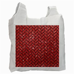 Brick2 Black Marble & Red Glitter Recycle Bag (two Side)  by trendistuff
