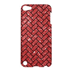 Brick2 Black Marble & Red Glitter Apple Ipod Touch 5 Hardshell Case by trendistuff