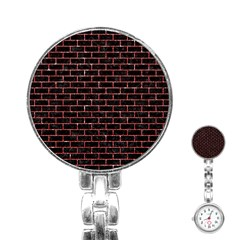 Brick1 Black Marble & Red Glitter (r) Stainless Steel Nurses Watch
