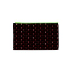 Brick1 Black Marble & Red Glitter (r) Cosmetic Bag (xs) by trendistuff
