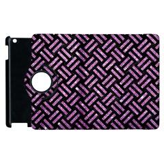 Woven2 Black Marble & Purple Glitter (r) Apple Ipad 2 Flip 360 Case by trendistuff