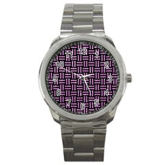 Woven1 Black Marble & Purple Glitter (r) Sport Metal Watch by trendistuff