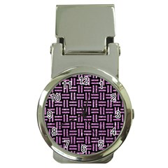 Woven1 Black Marble & Purple Glitter (r) Money Clip Watches by trendistuff