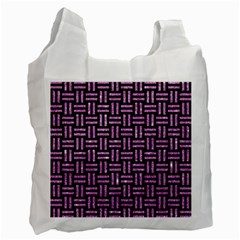 Woven1 Black Marble & Purple Glitter (r) Recycle Bag (two Side)  by trendistuff