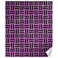 Woven1 Black Marble & Purple Glitter Canvas 20  X 24   by trendistuff