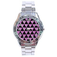 Triangle3 Black Marble & Purple Glitter Stainless Steel Analogue Watch by trendistuff