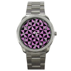 Triangle1 Black Marble & Purple Glitter Sport Metal Watch by trendistuff