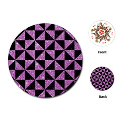 Triangle1 Black Marble & Purple Glitter Playing Cards (round)  by trendistuff