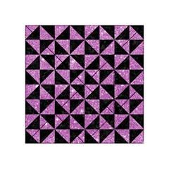 Triangle1 Black Marble & Purple Glitter Acrylic Tangram Puzzle (4  X 4 ) by trendistuff