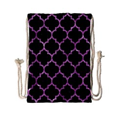 Tile1 Black Marble & Purple Glitter (r) Drawstring Bag (small) by trendistuff