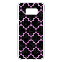 Tile1 Black Marble & Purple Glitter (r) Samsung Galaxy S8 Plus White Seamless Case by trendistuff