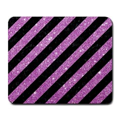 Stripes3 Black Marble & Purple Glitter (r) Large Mousepads by trendistuff