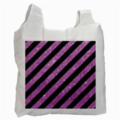 Stripes3 Black Marble & Purple Glitter (r) Recycle Bag (two Side)  by trendistuff