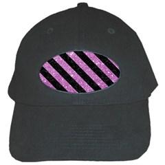 Stripes3 Black Marble & Purple Glitter Black Cap by trendistuff