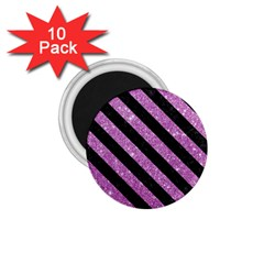 Stripes3 Black Marble & Purple Glitter 1 75  Magnets (10 Pack)  by trendistuff
