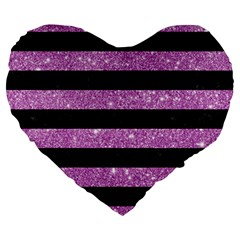 Stripes2black Marble & Purple Glitter Large 19  Premium Heart Shape Cushions by trendistuff