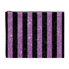 Stripes1 Black Marble & Purple Glitter Cosmetic Bag (xl) by trendistuff