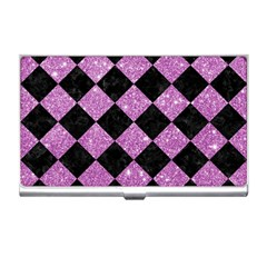 Square2 Black Marble & Purple Glitter Business Card Holders by trendistuff