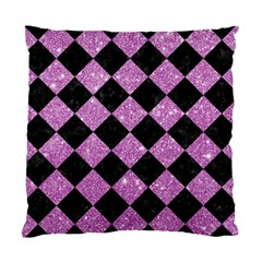 Square2 Black Marble & Purple Glitter Standard Cushion Case (two Sides) by trendistuff