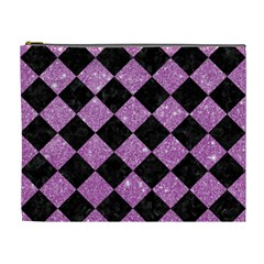 Square2 Black Marble & Purple Glitter Cosmetic Bag (xl) by trendistuff