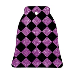 Square2 Black Marble & Purple Glitter Bell Ornament (two Sides) by trendistuff