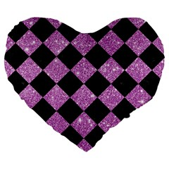 Square2 Black Marble & Purple Glitter Large 19  Premium Heart Shape Cushions by trendistuff