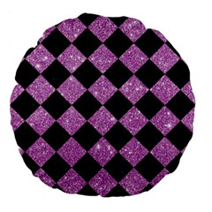 Square2 Black Marble & Purple Glitter Large 18  Premium Flano Round Cushions by trendistuff