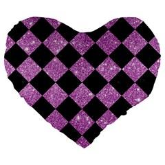 Square2 Black Marble & Purple Glitter Large 19  Premium Flano Heart Shape Cushions by trendistuff