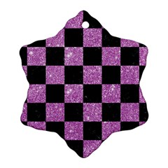 Square1 Black Marble & Purple Glitter Ornament (snowflake) by trendistuff