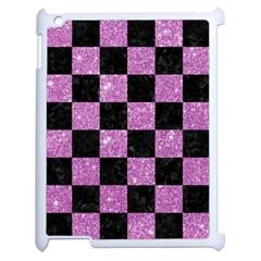 Square1 Black Marble & Purple Glitter Apple Ipad 2 Case (white) by trendistuff