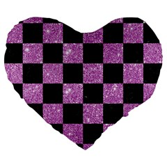 Square1 Black Marble & Purple Glitter Large 19  Premium Flano Heart Shape Cushions by trendistuff