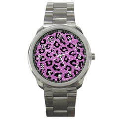 Skin5 Black Marble & Purple Glitter (r) Sport Metal Watch by trendistuff