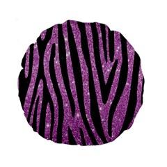 Skin4 Black Marble & Purple Glitter (r) Standard 15  Premium Round Cushions by trendistuff