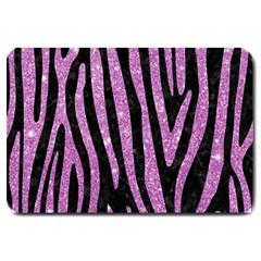 Skin4 Black Marble & Purple Glitter Large Doormat  by trendistuff