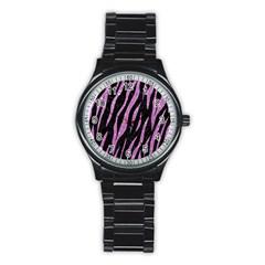 Skin3 Black Marble & Purple Glitter (r) Stainless Steel Round Watch by trendistuff