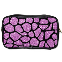 Skin1 Black Marble & Purple Glitter (r) Toiletries Bags 2 Side by trendistuff