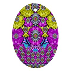 Fantasy Bloom In Spring Time Lively Colors Ornament (oval) by pepitasart