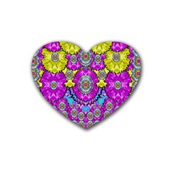 Fantasy Bloom In Spring Time Lively Colors Heart Coaster (4 Pack)  by pepitasart