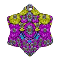 Fantasy Bloom In Spring Time Lively Colors Ornament (snowflake) by pepitasart